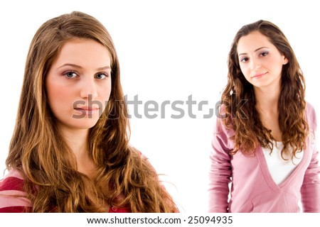 portrait of young sisters with white background - stock photo