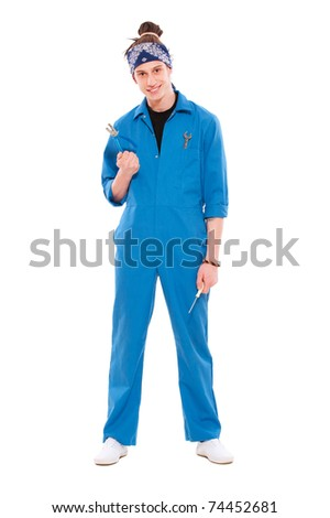 portrait of young smiley mechanic. isolated on white background - stock photo