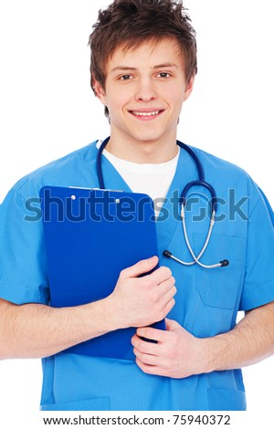 portrait of young smiley nurse boy with stethoscope - stock photo