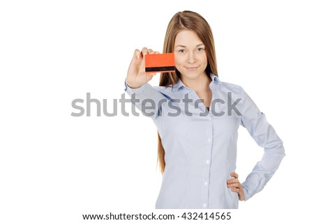 portrait of young smiling business woman holding credit card. isolated on white background. technology, shopping, banking and lifestyle concept - stock photo