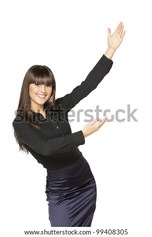 Portrait of young smiling business woman showing the blank copy space over white background - stock photo
