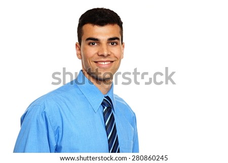 Portrait of young smiling businessman on white background - stock photo