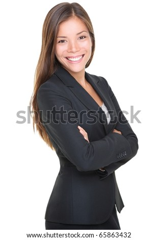 Portrait of young smiling businesswoman isolated on white background - stock photo