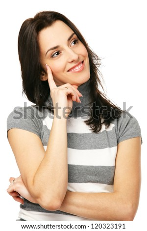 Portrait of young smiling female looking to the side, over white background - stock photo