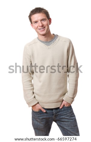 portrait of young smiling man standing isolated over white background - stock photo