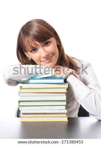 Portrait of young smiling student or businesswoman with textbooks, isolated against white background - stock photo
