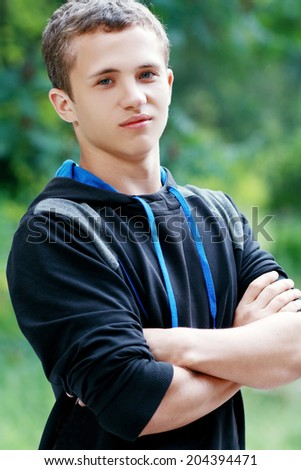 Portrait Of Young Smiling Teen Boy - stock photo