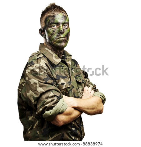 portrait of young soldier with jungle camouflage paint on a white background - stock photo