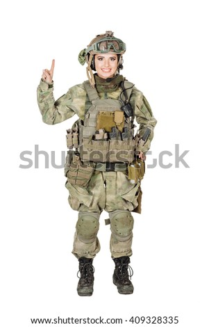 portrait of young soldier woman in green uniform showing one fingers. Hand counting. isolated on white background. business and lifestyle concept - stock photo