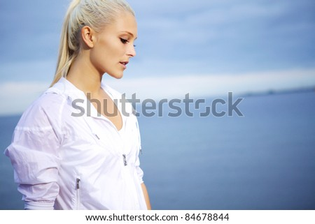 Portrait of young sporty woman. - stock photo