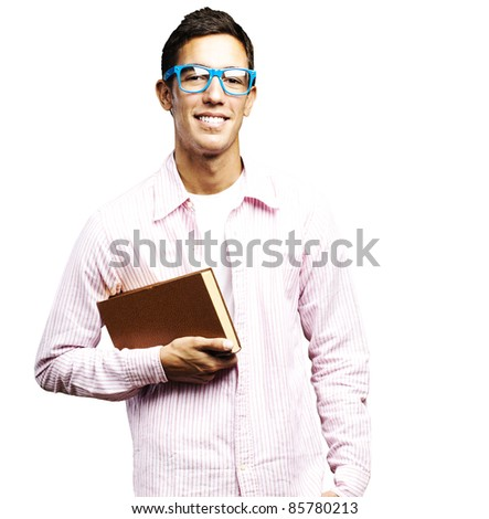 portrait of young student holding a book against a white background - stock photo