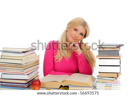 portrait of young student woman with lots of books  studing for exams. isolated on white background