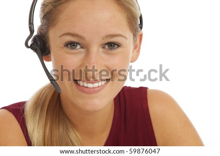 Portrait of young telemarketer