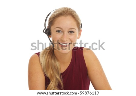 Portrait of young telemarketer - stock photo