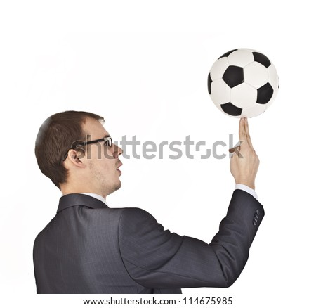 portrait of young trainer playing with a soccer ball Business with soccer ball (football). Isolated. - stock photo