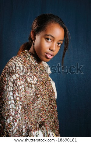 Portrait of young trendy african american girl posing - stock photo