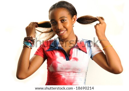 Portrait of young trendy african girl with happy expression - isolated - stock photo