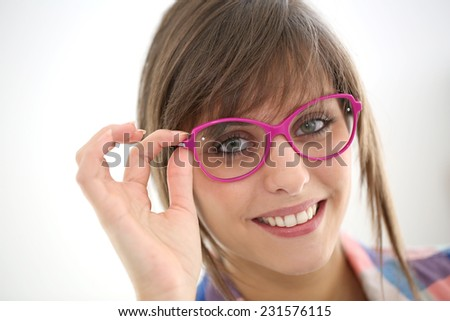 trendy eyeglasses ysgm  Portrait of young trendy girl with eyeglasses