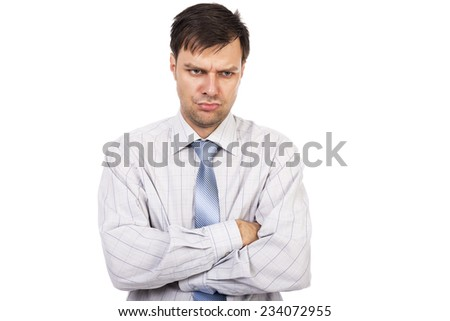 Portrait of young unhappy businessman with arms folded  isolated on white background - stock photo