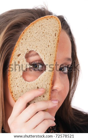 portrait of young woman and love in bread