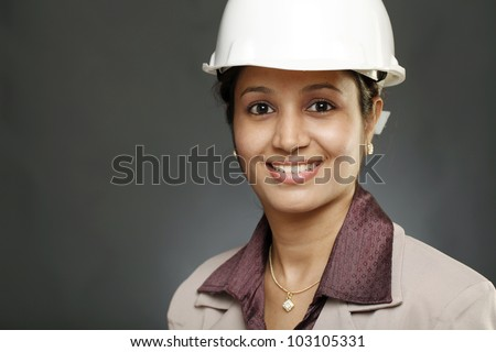 Portrait of Young woman architect - stock photo