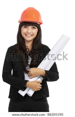 Portrait of Young woman architect with orange hard hat and paper with isolated background - stock photo
