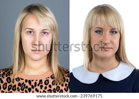 Portrait of young woman before and after make up - isolated photo - stock photo