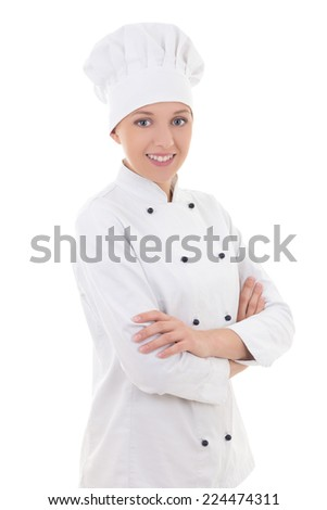 portrait of young woman chef  isolated on white background - stock photo