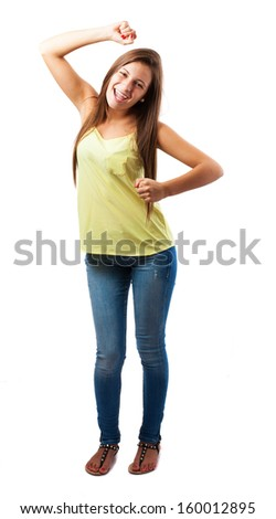 portrait of young woman dancing isolated on white - stock photo