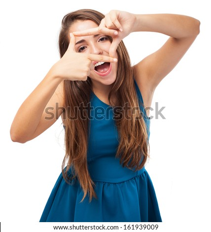 portrait of young woman doing a frame gesture on white background - stock photo