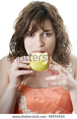 portrait of young woman eating an apple on white background