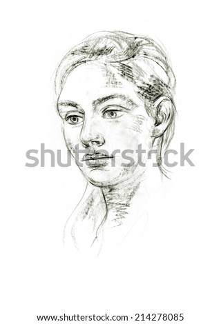 Portrait of young woman. Hand-drawing in pencil - stock photo