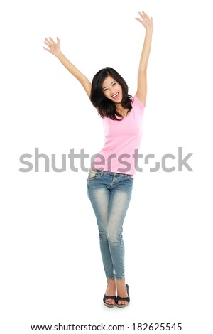 Portrait of Young Woman happy raised her arm isolated over white background - stock photo