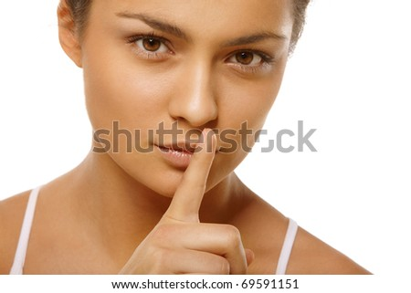 Portrait of young woman head and hands over isolated white background - stock photo