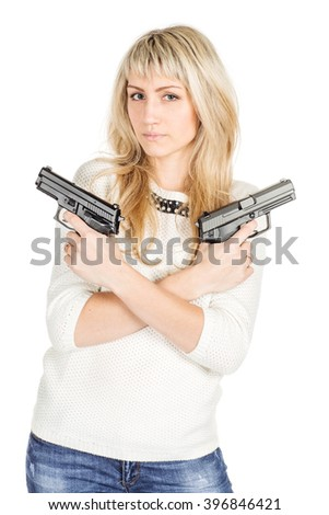 portrait of young woman holding a Guns.isolated on white background. police, crime and lifestyle concept - stock photo