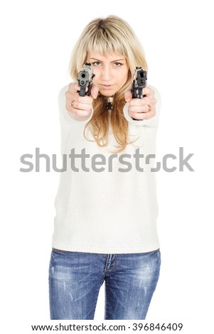 portrait of young woman holding a two Guns.isolated on white background. police, crime and lifestyle concept - stock photo