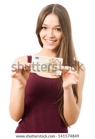 Portrait of young woman holding 50 Euro banknote - stock photo