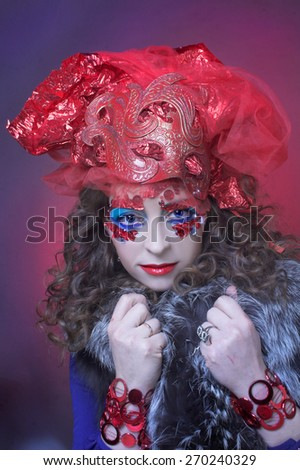 Portrait of young woman in eccentric holiday image. - stock photo