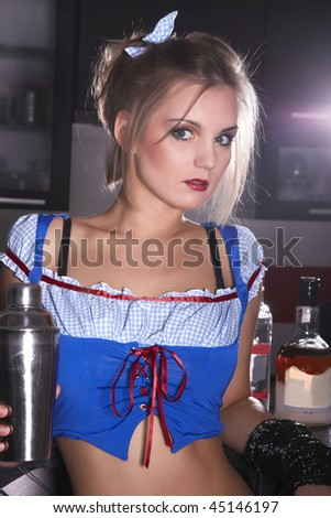 Portrait of young woman in the bar