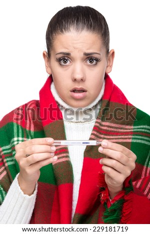 Portrait of young woman is having high temperature. - stock photo