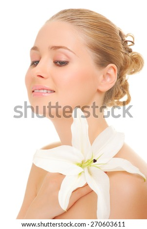 Portrait of young woman isolated - stock photo