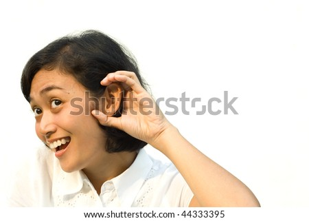 portrait of young woman overhear a conversation