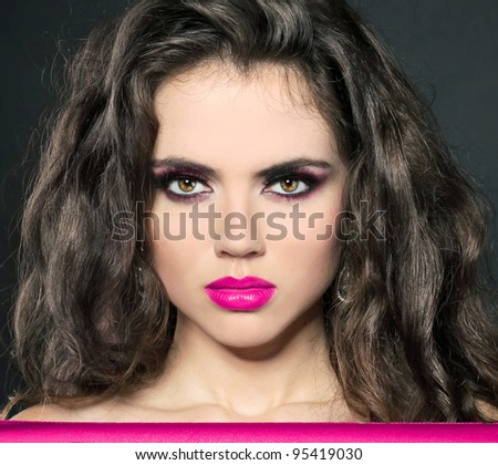 Portrait of Young woman's glossy pink lips, copy space - stock photo