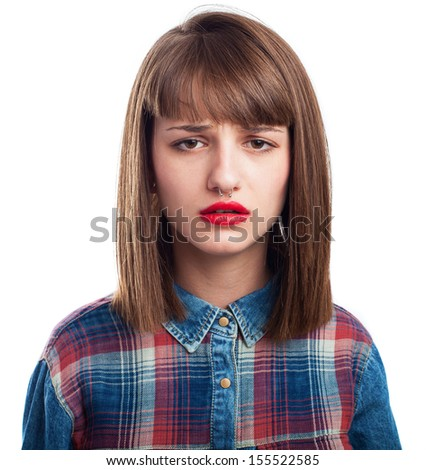 portrait of young woman sadness face isolated on white - stock photo