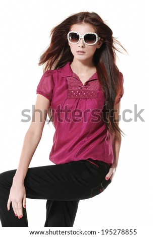 Portrait of Young Woman Standing posing - stock photo