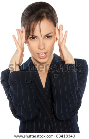 Portrait of young woman thinking over idea, holding her head in brainstorming over white background - stock photo