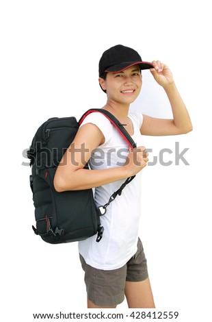 Portrait of young woman traveler with bag going on a journey on white background