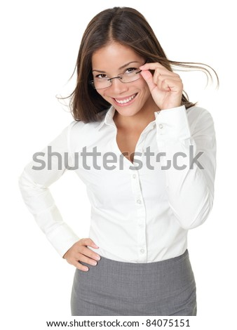 Portrait of young woman wearing glasses. Isolated on white background. - stock photo