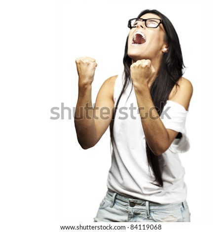portrait of young woman winner against a white background - stock photo
