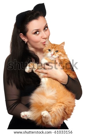 Portrait of young woman with a red cat. Isolated - stock photo